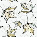 Naadloos patroon met gestileerde decoratieve bladeren Stock Foto