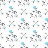 Naadloos patroon met gestileerde wigwam en pijlen Vectorbehang stock illustratie