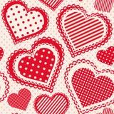 Naadloos patroon met gestippeld hart Stock Foto's