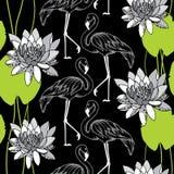 Naadloos patroon met gestippelde flamingo in wit en waterlelies Royalty-vrije Stock Afbeelding