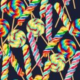 Naadloos patroon met gestreepte lollys Royalty-vrije Stock Fotografie