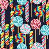Naadloos patroon met gestreepte lollys Stock Afbeeldingen