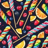 Naadloos patroon met gestreepte lollys Stock Afbeelding