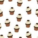 Naadloos patroon met getrokken en geschilderde hand cupcakes Stock Afbeeldingen