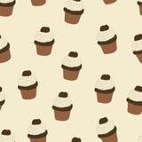 Naadloos patroon met getrokken en geschilderde hand cupcakes Grafische vector Royalty-vrije Stock Afbeelding