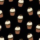 Naadloos patroon met getrokken en geschilderde hand cupcakes Grafische vector Stock Foto