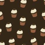 Naadloos patroon met getrokken en geschilderde hand cupcakes Vectorgr. Stock Afbeelding