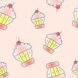 Naadloos patroon met getrokken hand cupcakes Royalty-vrije Stock Afbeelding
