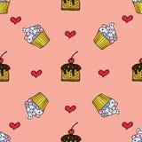 Naadloos patroon met getrokken hand cupcakes en harten Stock Afbeelding