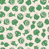 Naadloos patroon met gezonde voedselpictogrammen Stock Illustratie