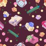 Naadloos patroon met giftpakketten Royalty-vrije Stock Afbeeldingen