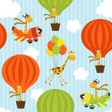 Naadloos patroon met giraf bij het luchtvervoer Stock Afbeeldingen