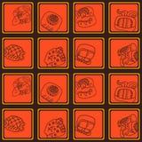 Naadloos patroon met glyphs van het Mayan schrijven Stock Foto's