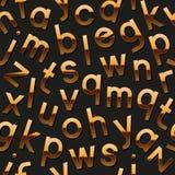 Naadloos patroon met gouden alfabet Stock Afbeeldingen