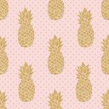 Naadloos patroon met gouden ananassen Stock Fotografie