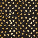 Naadloos patroon met gouden harten stock illustratie