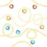 Naadloos patroon met gouden kettingen en multicolored diamanten op een witte achtergrond stock illustratie