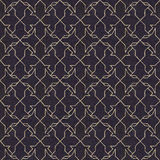 Naadloos patroon met gouden ornament op zwart document Stock Afbeelding
