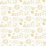 Naadloos patroon met gouden sterren, planeet, maan, aarde Royalty-vrije Stock Afbeeldingen