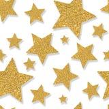 Naadloos patroon met gouden sterren van lovertjeconfettien Schitter pow stock foto