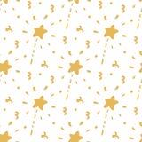 Naadloos patroon met gouden toverstokje op een witte achtergrond Stock Foto