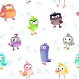Naadloos patroon met grappige beeldverhaal grappige vogels Stock Afbeelding