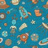Naadloos patroon met grappige beeldverhaal ruimteelementen stock illustratie