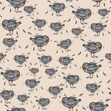 Naadloos patroon met grappige beeldverhaalduiven en veren vector illustratie