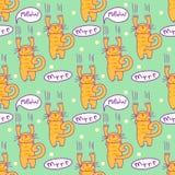 Naadloos patroon met grappige beeldverhaalkat Krassend katje met toespraakbellen Eenvoudig editable vectortextuur voor stof, dekk vector illustratie