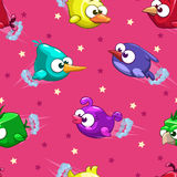 Naadloos patroon met grappige beeldverhaalvogels Stock Afbeeldingen