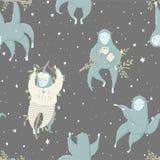 Naadloos patroon met grappige blauwe aap, hand getrokken illustraties vector illustratie