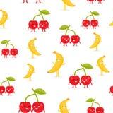 Naadloos patroon met grappige gelukkige banaan en kers vector illustratie
