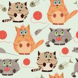 Naadloos patroon met grappige katten Stock Fotografie