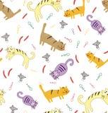 Naadloos patroon met grappige leuke kleurrijke katten stock illustratie