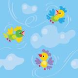Naadloos patroon met grappige vogels Stock Afbeelding