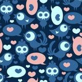 Naadloos patroon met vogels en harten Royalty-vrije Stock Afbeeldingen