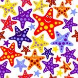 Naadloos patroon met grappige zeester Stock Foto