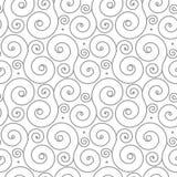 Naadloos patroon met grijs wervelingsornament op wit Stock Foto's