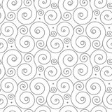 Naadloos patroon met grijs wervelingsornament op wit Stock Afbeeldingen