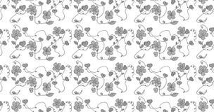 Naadloos patroon met grijze bloemen Stock Foto's