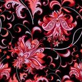 Naadloos patroon met grijze en rode bloemen Stock Foto's