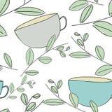 Naadloos patroon met groene bladeren Stock Foto's