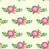 Naadloos patroon met groene bladeren en bloemen Royalty-vrije Stock Afbeeldingen