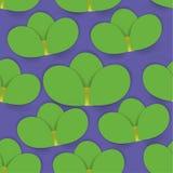 Naadloos patroon met groene bloemen op een blauw stock illustratie
