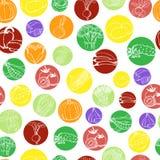 Naadloos patroon met groenten in gekleurde cirkels op een witte achtergrond vector illustratie