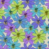 Naadloos patroon met grote bloemen Stock Afbeelding
