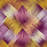 Naadloos patroon met grunge diagonale gestreepte vierkante elementen Stock Afbeelding