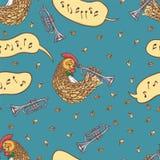 Naadloos Patroon met Haan en Trompet vector illustratie
