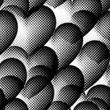 Naadloos patroon met halftone harten Stock Afbeeldingen