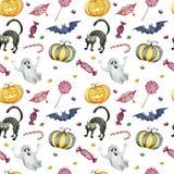 Naadloos patroon met Halloween-karakters op witte achtergrond royalty-vrije stock fotografie